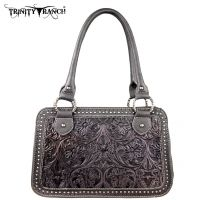 TR18-L8247 Montana West Trinity Ranch Tooled Design Collection Handbag-Black