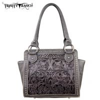 TR18-L8250 Montana West Trinity Ranch Tooled Design Collection Handbag-Black