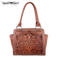 TR18-L8250 Montana West Trinity Ranch Tooled Design Collection Handbag-Brown