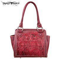 TR18-L8250 Montana West Trinity Ranch Tooled Design Collection Handbag-Red