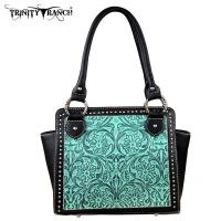 TR18-L8250 Montana West Trinity Ranch Tooled Design Collection Handbag-Turquoise