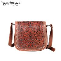 TR18-L8287 Montana West Trinity Ranch Tooled Design Collection Messenger Bag-Brown
