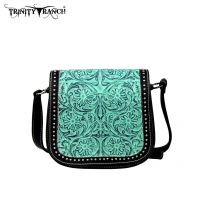 TR18-L8287 Montana West Trinity Ranch Tooled Design Collection Messenger Bag-Turquoise