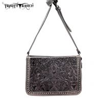 TR18-L8316 Montana West Trinity Ranch Tooled Design Collection Messenger Bag-Black