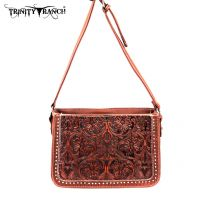 TR18-L8316 Montana West Trinity Ranch Tooled Design Collection Messenger Bag-Brown