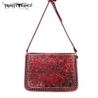 TR18-L8316 Montana West Trinity Ranch Tooled Design Collection Messenger Bag-Red