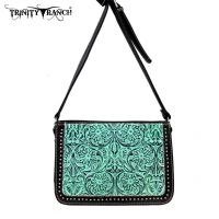 TR18-L8316 Montana West Trinity Ranch Tooled Design Collection Messenger Bag-Turquoise