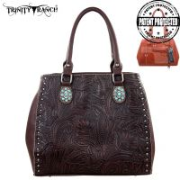 TR22G-L8563 Montana West Trinity Ranch Tooled Design Concealed Handgun Collection-Coffee