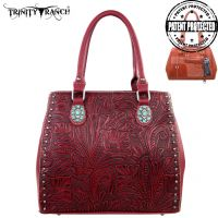 TR22G-L8563 Montana West Trinity Ranch Tooled Design Concealed Handgun Collection-Red