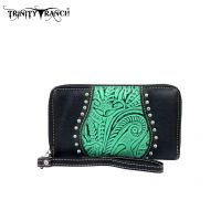 TR23-W003 Montana West Trinity Ranch Tooled Design Wallet-Black