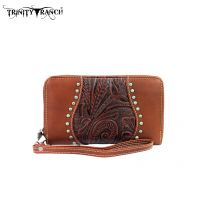 TR23-W003 Montana West Trinity Ranch Tooled Design Wallet-Brown