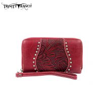 TR23-W003 Montana West Trinity Ranch Tooled Design Wallet-Red