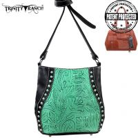 TR23G-8360 Montana West Trinity Ranch Tooled Design Handbag-Black