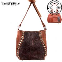 TR23G-8360 Montana West Trinity Ranch Tooled Design Handbag-Brown