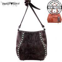TR23G-8360 Montana West Trinity Ranch Tooled Design Handbag-Coffee