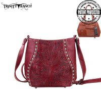 TR23G-8360 Montana West Trinity Ranch Tooled Design Handbag-Red
