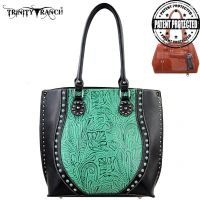 TR23G-8570 Montana West Trinity Ranch Tooled Design Concealed Handgun Handbag-Black