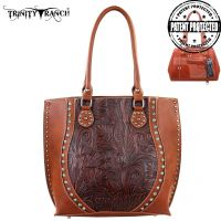 TR23G-8570 Montana West Trinity Ranch Tooled Design Concealed Handgun Handbag-Brown