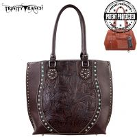 TR23G-8570 Montana West Trinity Ranch Tooled Design Concealed Handgun Handbag-Coffee