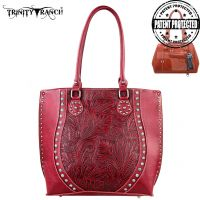 TR23G-8570 Montana West Trinity Ranch Tooled Design Concealed Handgun Handbag-Red