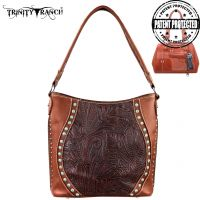 TR23G-916 Montana West Trinity Ranch Tooled Design Concealed Handgun Handbag-Brown