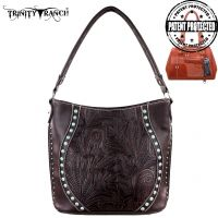 TR23G-916 Montana West Trinity Ranch Tooled Design Concealed Handgun Handbag-Coffee