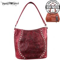 TR23G-916 Montana West Trinity Ranch Tooled Design Concealed Handgun Handbag-Red