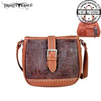 TR24G-L8360 Montana West Trinity Ranch Buckle Design Concealed Handgun Collection Handbag-Brown