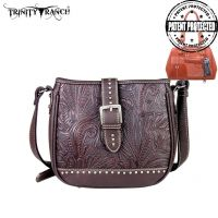 TR24G-L8360 Montana West Trinity Ranch Buckle Design Concealed Handgun Collection Handbag-Coffee