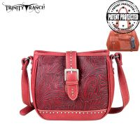 TR24G-L8360 Montana West Trinity Ranch Buckle Design Concealed Handgun Collection Handbag-Red