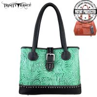 TR24G-L8563 Montana West Trinity Ranch Tooled Design Concealed Handgun Collection Handbag-Turquoise