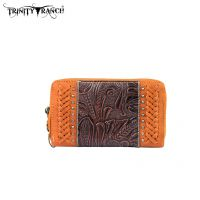 TR25-W003 Montana West Trinity Ranch Tooled Design Wallet-Brown