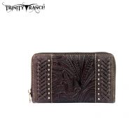 TR25-W003 Montana West Trinity Ranch Tooled Design Wallet-Coffee