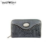 TR26-W003 Montana West Trinity Ranch Tooled Design Wallet-Black