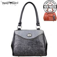 TR26G-L8036 Montana West Trinity Ranch Tooled Design Concealed Gandgun Collection Handbag-Black