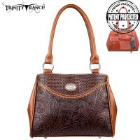 TR26G-L8036 Montana West Trinity Ranch Tooled Design Concealed Gandgun Collection Handbag-Brown