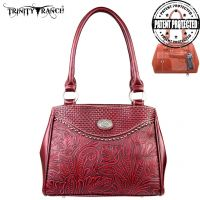 TR26G-L8036 Montana West Trinity Ranch Tooled Design Concealed Gandgun Collection Handbag-Red