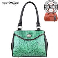 TR26G-L8036 Montana West Trinity Ranch Tooled Design Concealed Gandgun Collection Handbag-Turquoise
