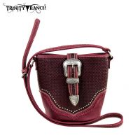 TR31-8296 Trinity Ranch Buckle Design Handbag-Burgundy