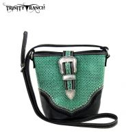TR31-8296 Trinity Ranch Buckle Design Handbag-Black