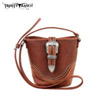 TR31-8296 Trinity Ranch Buckle Design Handbag-Brown