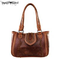 TR32-8248 Trinity Ranch Tooled Design Collection Handbag-Brown