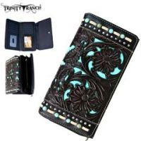 Trinity Ranch Tooled Design Collection Secretary Style Wallet TR49-W010