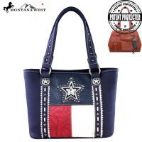 TX07G-8317 Montana West Texas Pride Collection Handbag-Navy & Red