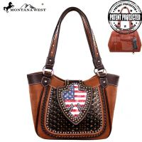 US03G-8005 Montana West American Pride Concealed Handgun Collection Handbag-Brown