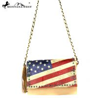 US13-8289 Montana West Vintage America Flag Crossbody-Beige