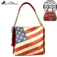 US13G-916 Montana West Vintage America Flag Concealed Handgun Tote Bag-Red