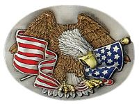 Eagle And USA Flag Belt Buckle Made in USA