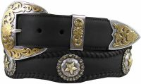 Abilene Cowhide Leather Star Berry Concho Western Belts by Diamond V Texas Star