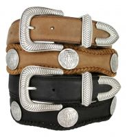 American Indian Coin Leather Western Concho Belt by Diamond V Texas Star